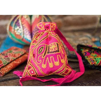 Indian cloth purse with strap Pink Elephant design