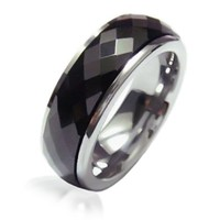Bling Jewelry Faceted Black Tungsten Spinner Ring 7mm