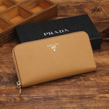 PEAPV9O THE PRADA Zipper bag Women Leather Purse Wallet G-YJBD-2H