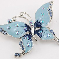 Alilang Womens Silver Tone Sapphire Blue Colored Rhinestones Light Blue Butterfly Brooch Pin