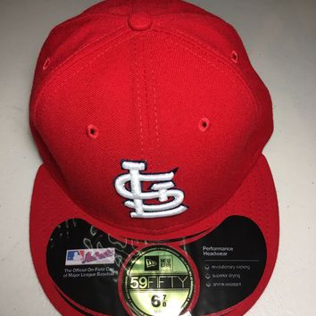 ST. LOUIS CARDINALS MLB RETRO NEW ERA 5950 RED W/ BLACK UNDER FITTED HAT