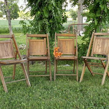 Vintage Wooden Folding Chairs, 4 Wood Slat Chairs, Rustic Industrial Home Decor, Patio Furniture, Camp Seating
