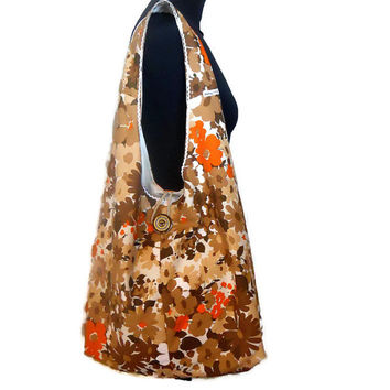 Vintage Fabric Retro Boho Bag, in a 60s 70s Brown and Orange Flower design