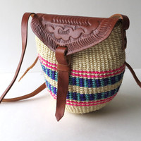 Small Woven Jute and Leather Bag / Cross Body Purse / Africa Vintage / Boho Colorful Ethnic / Travel Versatile Beach Day Trip Festival Pouch
