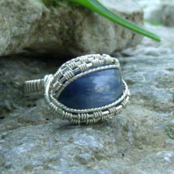 Wire Wrap Ring Blue Kyanite 925 Sterling Silver Size 11 Handmade Heady Jewelry