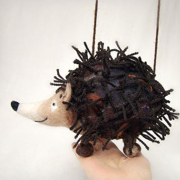 Nicholas - Felt Hedgehog. Art Toy. Felt Marionette. Felted Puppet. Stuffed Animal. MADE TO ORDER.