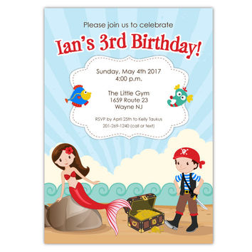 Mermaid Pirate Party Invitations (B)