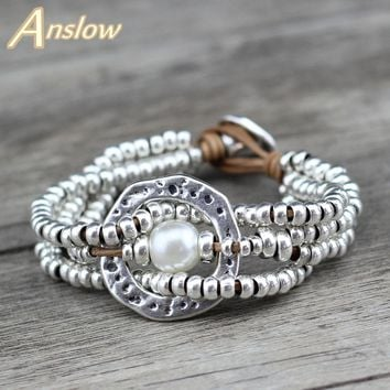 Anslow Brand Jewelry New Round With Round Pearl Multilayer Silver Beaded Bracelet IN Stock USA