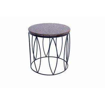 Round Marble Top Side/End Table, Brown By The Urban Port