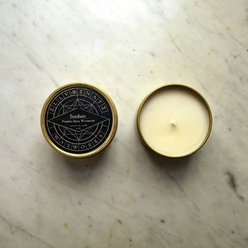 Samhain - Pumpkin, Spice & Woodsmoke Scented Soy Candle in 8 oz Gold Tin
