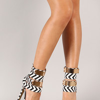 Eye Catcher Chevron Ankle Cuff Stiletto Platform Heel