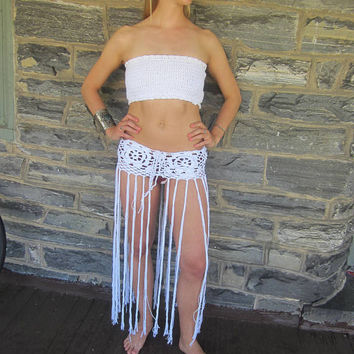 Lotus flower fringe skirt, FESTIVAL FRINGE BELT, crochet fringe belt, boho fringe belt, hip belt, belly dancing, tribal belt, Festival skirt
