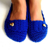 Crochet Womens Slippers, Ballet Flats, House Shoes