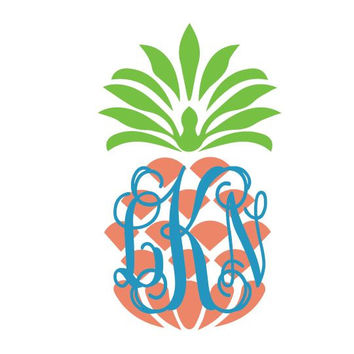 "Pineapple Monogram Preppy Cell Phone Decal 2"" Vinyl Sticker"