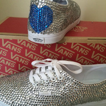 Rhinestoned Vans with heart or initials on the back