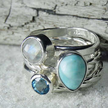 Stacking Rings - Larimar, Topaz, Moonstone Stacker Set - Gemstone Stack Rings - Ocean Blue, Aqua Gemstone Jewelry