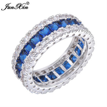 JUNXIN Fashion Men Women Blue Ring White Gold Filled Promise Engagement Rings For Couples Lover's Sapphire Jewelry Best Gifts