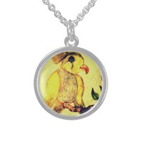 Yellow Sterling Silver Vintage Bird Round Pendant Necklace