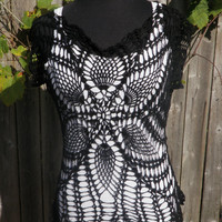flower black crochet womans shirt size medium, spider web top- ready to ship free USA shipping