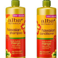 Alba Bontanica Hawaiian Body Builder Mango Hair Care Bundle 24oz Shampoo and Conditioner Set