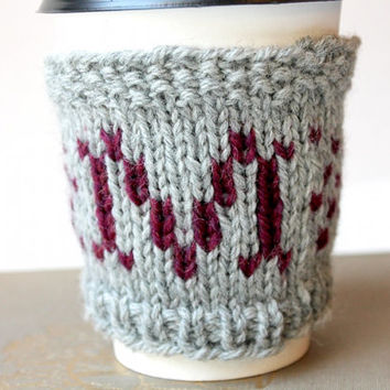 Monogram Cup Cozy, M Coffee Sleeve, Custom Monogram, Monogram Cup Sleeve, Letter M, M Monogram, Knit M Monogram, Knit Cup Cozy, Coffee Cup
