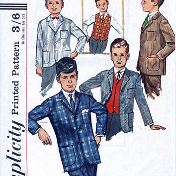 Mid 1960's Boys' Vest / Waistcoat And Jacket - Vintage Sewing Pattern - Simplicity Pattern 6108 - Chest 24 Inch