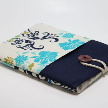 Mac Book Pro Retina 13 inch Sleeve Mac book Pro 13 Case Mac book Pro Foam Padded Handmade Cover- Teal Blue Floral