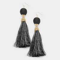 Black & Gold Thread Wrapped Ball Tassel Earrings