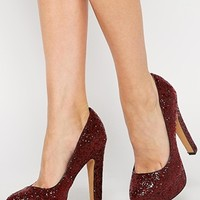 ALDO Passarello Red Glitter Chunky Heeled Pumps
