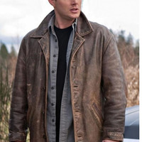 Supernatural dean winchester distressed leather jacke