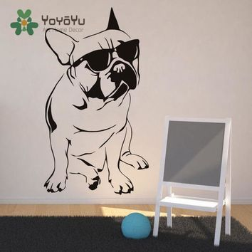 Removable Home Decor Art Mural Funny Animal Wall Sticker French Bulldog With Sunglasses Vinyl Decal DIY Dog Mural NY-9