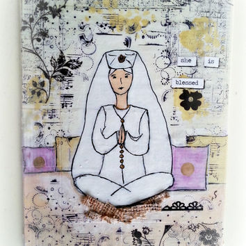 "One of a kind original canvas art. 5x7 inches. Inspirational art.  ""She is Blessed"".  Beautiful for any room"