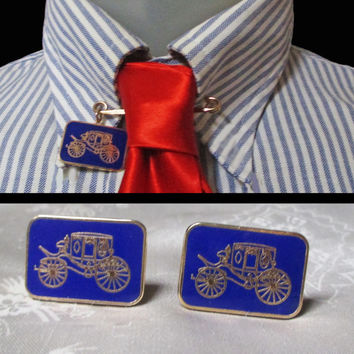 Vintage Car Cufflink Set with UNIQUE Collar Pin - 70s Blue Antique Car Cuff Links