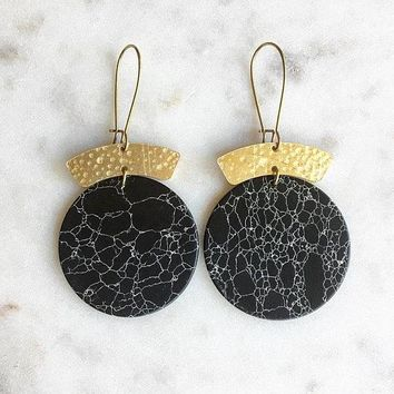 The Hills Hammered Black Howlite Earrings