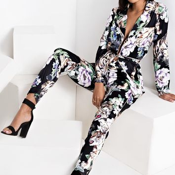 AKIRA High Rise Satin Pyjama Floral Tiger Printed Pants in Black Floral