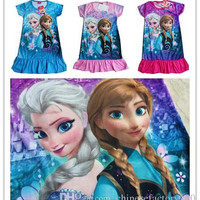 2015 Summer Girls Dresses Frozen Princess Elsa Anna Children Nightdress Cartoon Clothing 100% Cotton Kids Pajamas Dress