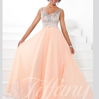 V-neck Beaded Top Floor Length A-line Prom Dress Tiffany Designs 16091