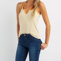 Striped Strappy Caged Racerback Tank