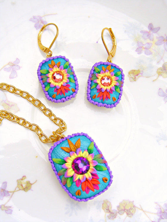 Mexican embroidery pendant necklace from sweetystuff on etsy