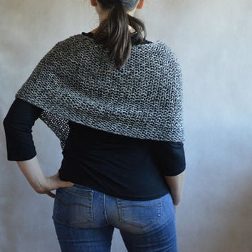 Loose Knit black & white poncho, Loose Knit Wrap, Hand knitted Poncho, Women Cover up, Fashion Accessory, comfy black n white melange wrap