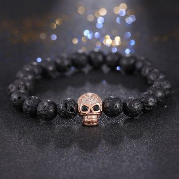 DCCKHY9 2017 Men Bracelets Skull Micro inlay zircon  Natural Stone bead Buddha Bracelets For Women Men Black Lava bracelet pulseras muje
