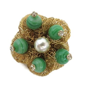 Weiss Brooch, Vintage Art Glass Brooch, Bird's Nest Pin, Faux Pearl Rhinestone Pin, Signed Weiss Jewelry, Summer Jewelry, Gift for Her