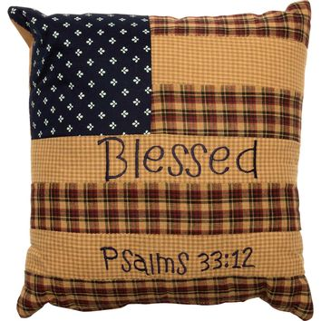 "Americana Patriotic Patch "" BLESSED "" Country Red, Blue, Tan Flag Throw Pillow"
