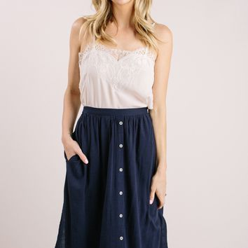 Cheyenne Navy Button Midi Skirt