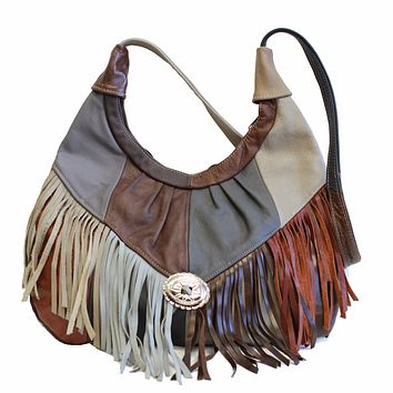 Fringe Hobo Bag - Soft Genuine Leather Multi Color