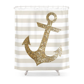 Society6 GLITTER ANCHOR IN GOLD Shower Curtains