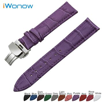 Genuine Leather Watch Band 18mm 19mm 20mm 22mm for Rolex Stainless Steel Butterfly Buckle Strap Wrist Belt Bracelet