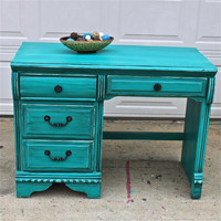 Patina Green Vintage Desk/ Turquoise/ Vanity/ Bedroom Furniture/ TV Stand/ Storage/ Distressed/ Rustic