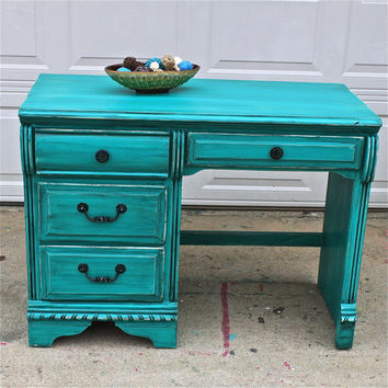 turquoise bedroom furniture. Patina Green Vintage Desk/ Turquoise/ Vanity/ Bedroom Furniture/ Turquoise Bedroom Furniture