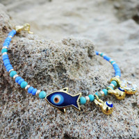 Evil Eye bracelet in Turquoise Turkish jewelry Istanbul accessories fish charm bracelet best friend birthday Christmas gifts for women